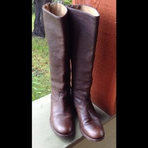 Frye Leather Boots Brown Zipper Back Size 7